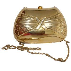 🇨🇦 Vintage gold metal box purse